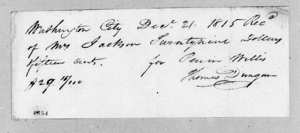 Perrin Willis to Rachel Donelson Jackson, December 21, 1815