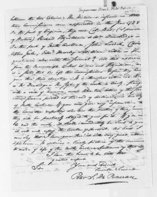 Peter S. du Ponceaux to Thomas Jefferson, November 14, 1815