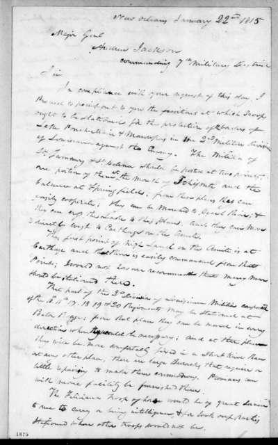 Philemon Thomas to Andrew Jackson, January 22, 1815