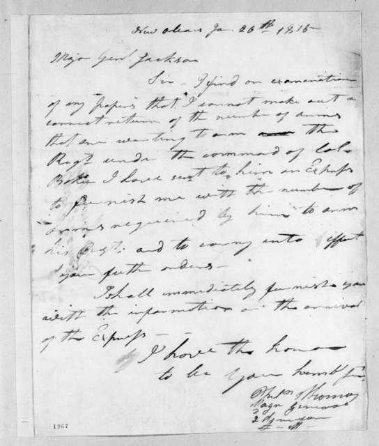 Philemon Thomas to Andrew Jackson, January 26, 1815