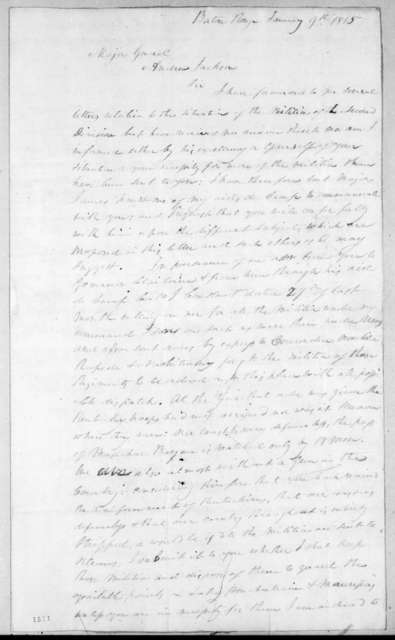 Philemon Thomas to Andrew Jackson, January 9, 1815