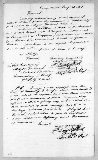 Pierre Denis de LaRonde to Andrew Jackson, January 26, 1815