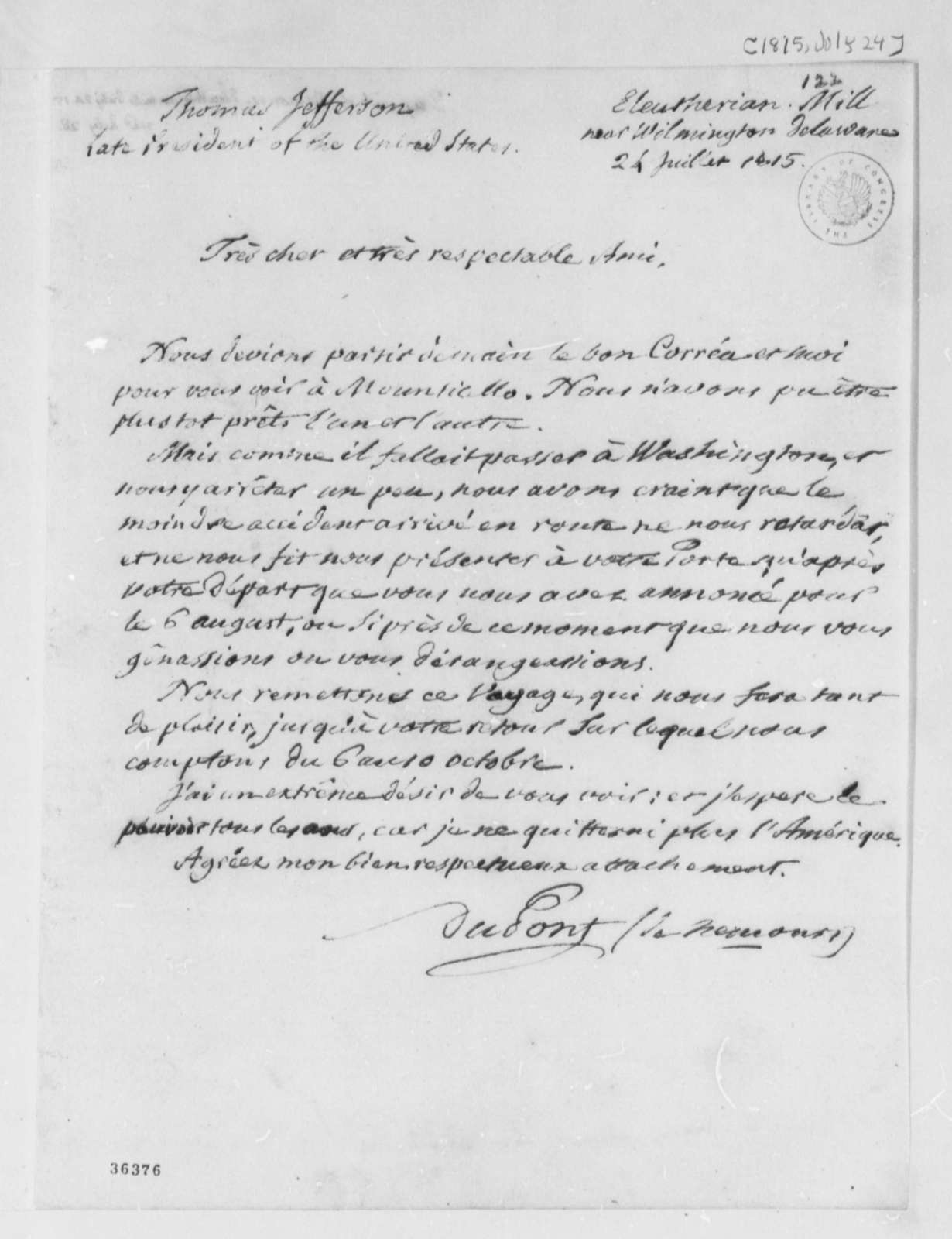 Pierre S. Dupont de Nemours to Thomas Jefferson, July 24, 1815, in French