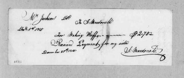 Rachel Donelson Jackson to James MacDonald, December 1, 1815