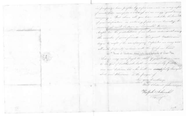 Ralph Schenck to James Madison, August 24, 1815.
