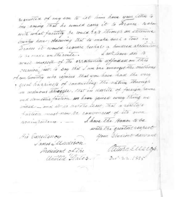 Return J. Meigs to James Madison, December 22, 1815.