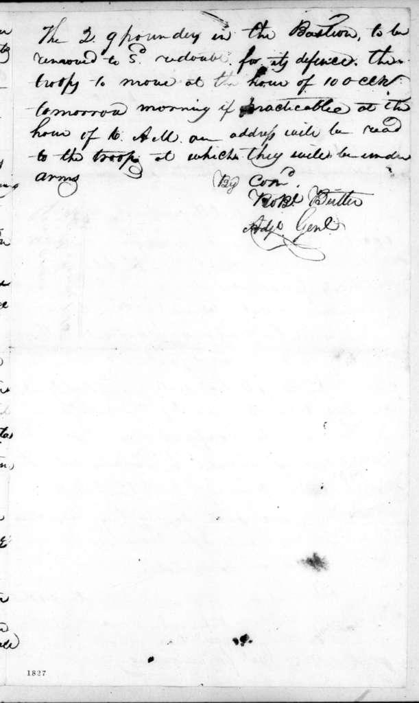 Robert Butler, January 20, 1815