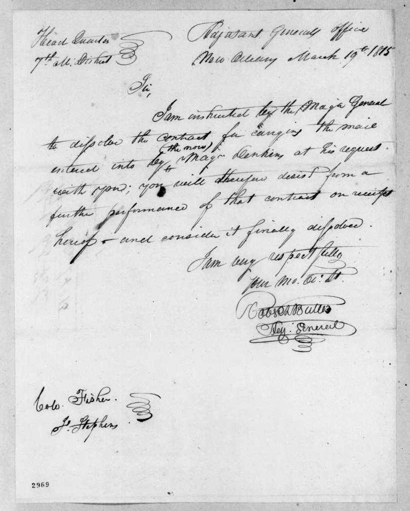 Robert Butler to Col. Fisher, March 19, 1815
