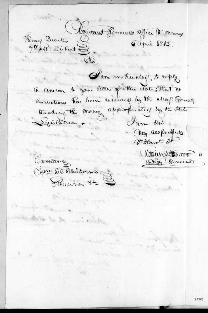 Robert Butler to William Charles Cole Claiborne, April 5, 1815