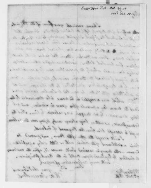 Robert Saunders to Thomas Jefferson, October 29, 1815