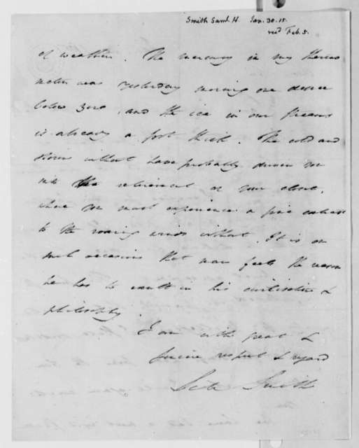 Samuel H. Smith to Thomas Jefferson, January 30, 1815
