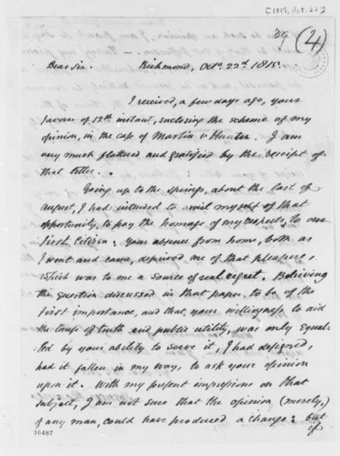 Spencer Roane to Thomas Jefferson, October 22, 1815