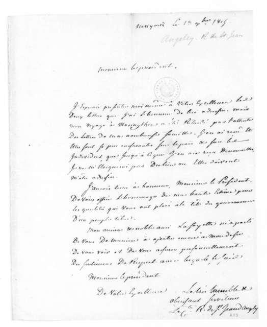 St. Jean d' Angeley to James Madison, September 13, 1815. In French.