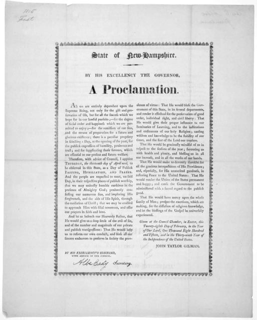 State of New-Hampshire. By His excellency the Governor. A proclamation ... ] appoint Thursday, the thirteenth day of April next, to be observed in this state, as a day of publick fasting, humiliation, and prayer ... Given at the Council Chamber,