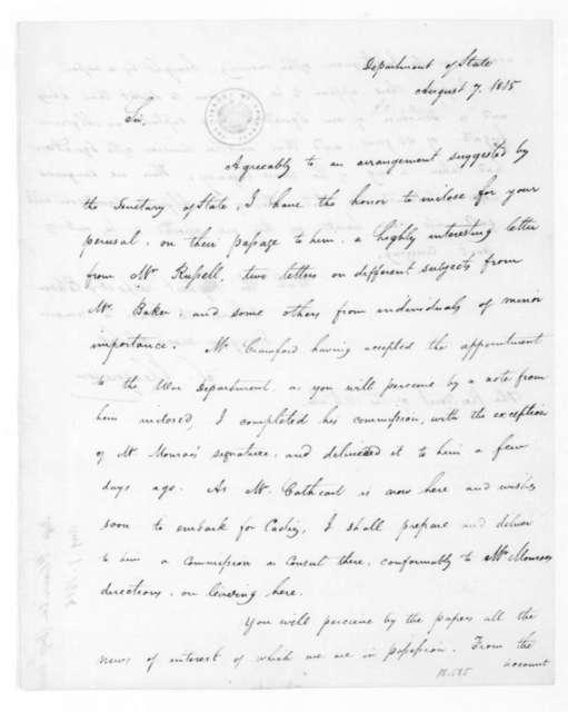 Stephen Pleasonton to James Madison, August 7, 1815.