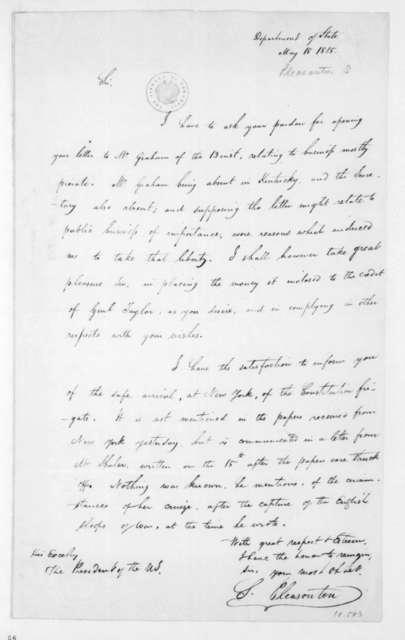 Stephen Pleasonton to James Madison, May 18, 1815.