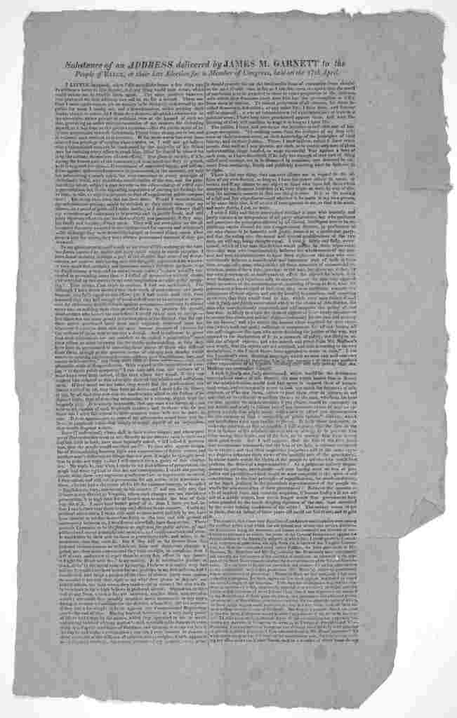 Substance of an address delivered by James M. Garnett to the people of Essex, at their late election for a member of Congress, held on the 17th April [1815?].