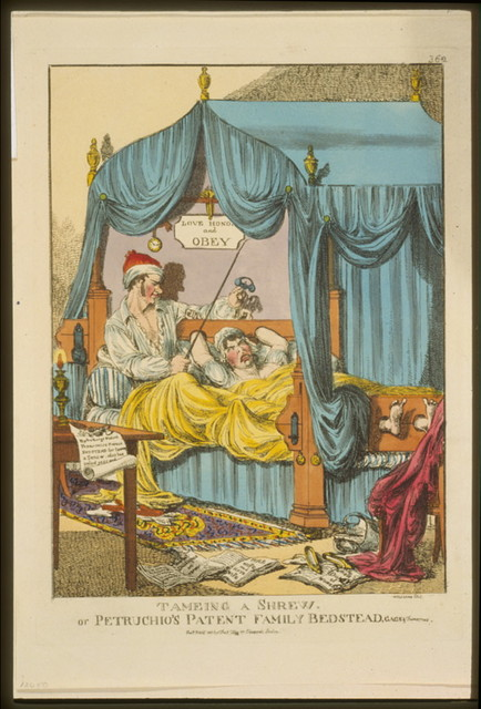 Tameing [i.e. taming] a shrew. Or Petruchio's patent family bedstead, gags & thumscrews / Williams fecit.