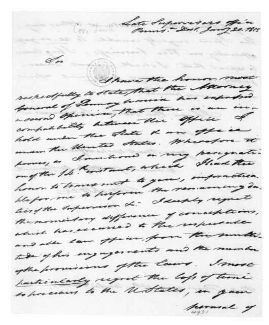 Tench Coxe to James Madison, January 20, 1815.