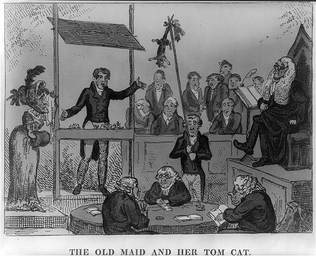 The old maid and her tom cat / [G. Cruikshank].