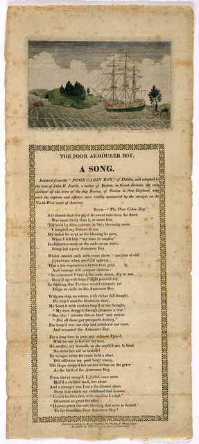 The poor armourer boy. A song ... Entered according to Act of Congress the 8th day of March 1815. By John R. Jewitt. of the State of Connecticut.