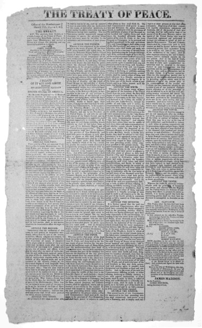 The treaty of peace. Office of the Newburyport Herald, Feb. 21,- 4 P. M. ... Treaty of peace and amity between his Britannic majesty and the United States of America. Newburyport Mass. 1815.