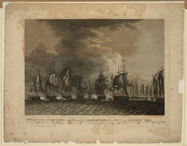 This representation of the battle on Lake Erie is respectfully inscribed to Commodore Perry, his officers and gallant crews, by their humble servant James Webster / drawn by Sully and Kearney ; engrd. by Murray, Draper, Fairman and Co.