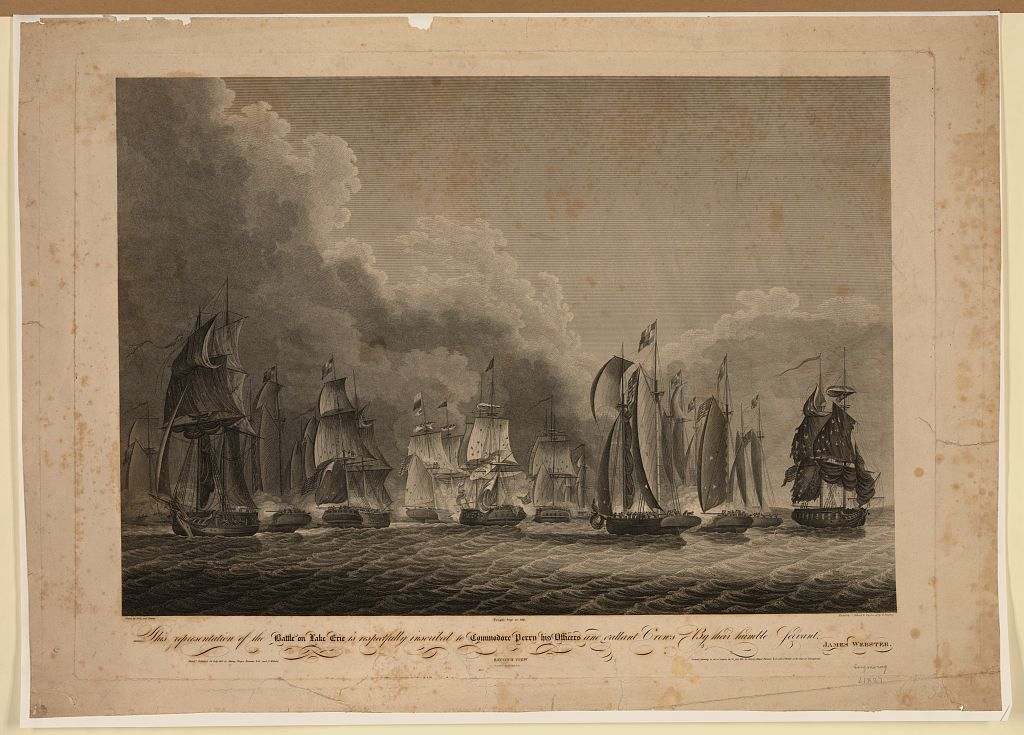 This representation of the battle on Lake Erie is respectfully inscribed to Commodore Perry, his officers and gallant crews, by their humble servant James Webster - second view / drawn by Sully and Kearney ; etched by C. Tiebout ; & engraved by G. Murray ; printed by Rogers and Esler.