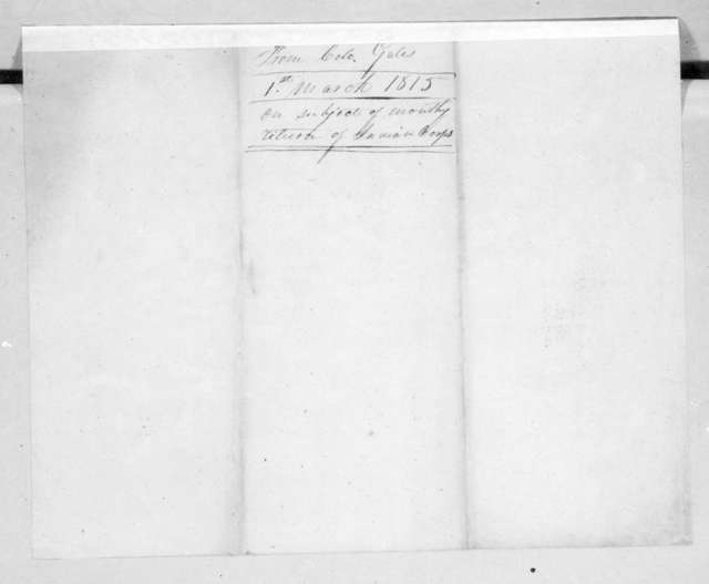 Thomas Gales to Robert Butler, March 1, 1815