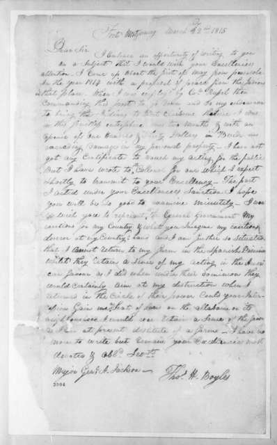 Thomas H. Boyle to Andrew Jackson, March 22, 1815