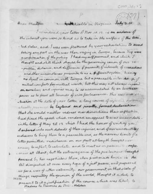 Thomas Jefferson to Anne L. G. N. Stael-Holstein, July 3, 1815