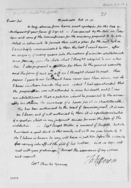 Thomas Jefferson to Charles Yancey, October 15, 1815