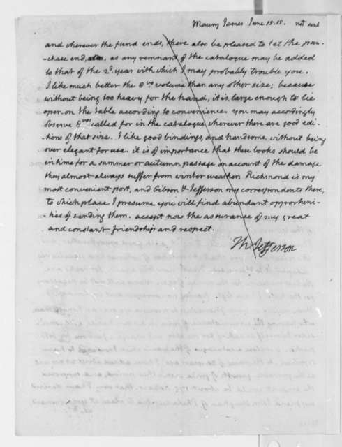 Thomas Jefferson to James Maury, June 15, 1815, and Draft Fragment, Not Sent