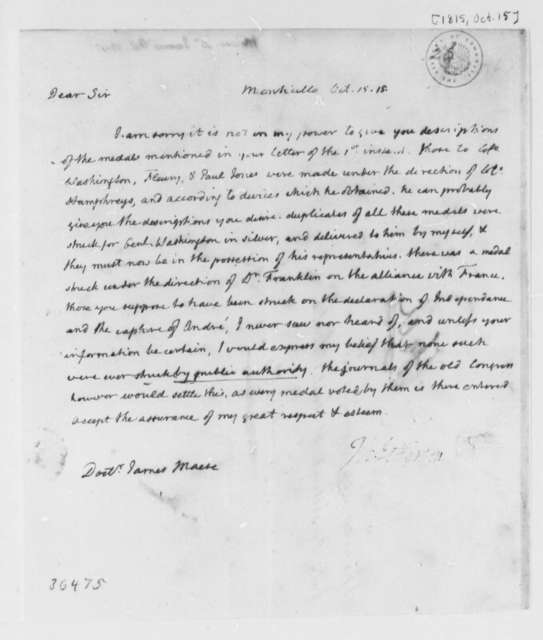 Thomas Jefferson to James Mease, October 15, 1815