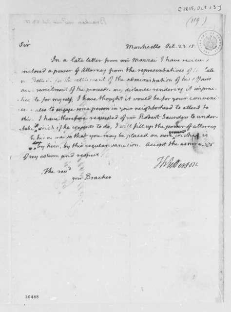 Thomas Jefferson to John Bracken, October 23, 1815