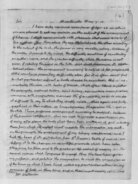 Thomas Jefferson to John S. Barnes, May 7, 1815