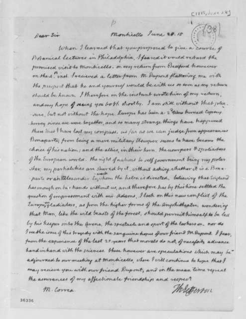 Thomas Jefferson to Jose Correa da Serra, June 28, 1815