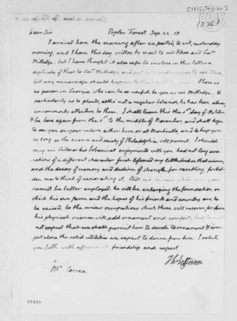 Thomas Jefferson to Jose Correa da Serra, September 22, 1815