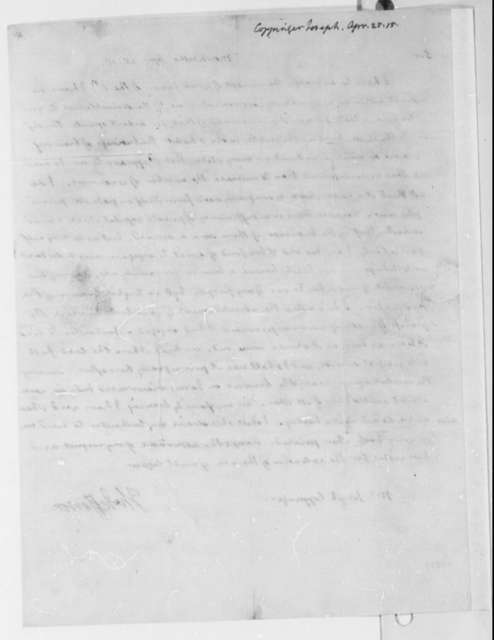 Thomas Jefferson to Joseph Coppinger, April 25, 1815