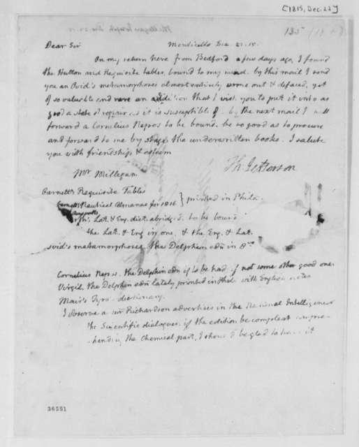 Thomas Jefferson to Joseph Milligan, December 22, 1815