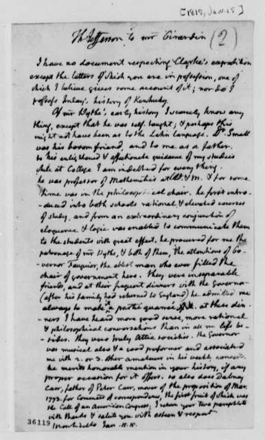 Thomas Jefferson to Louis H. Girardin, January 15, 1815