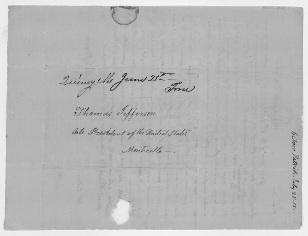 Thomas Jefferson to Patrick Gibson, July 28, 1815