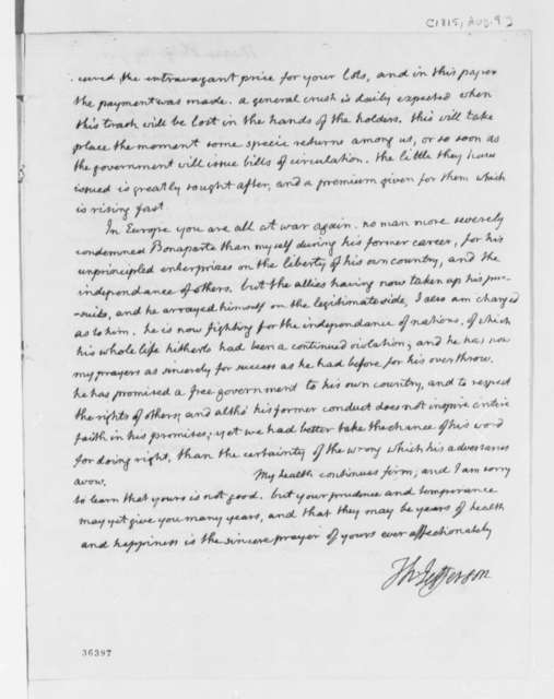 Thomas Jefferson to Philip Mazzei, August 9, 1815