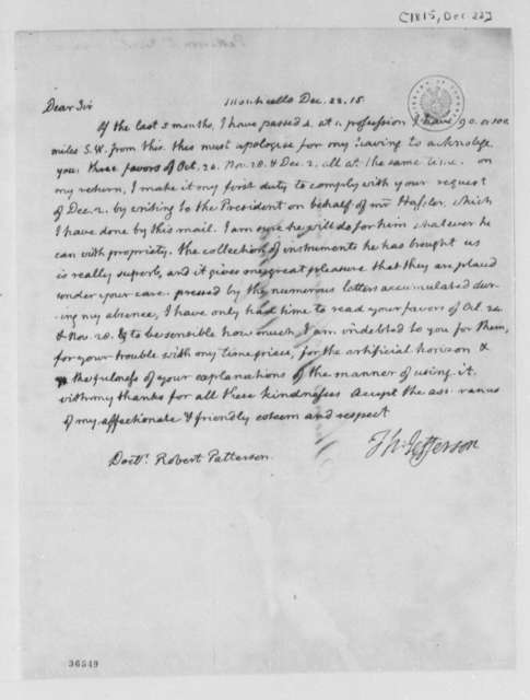 Thomas Jefferson to Robert Patterson, December 22, 1815