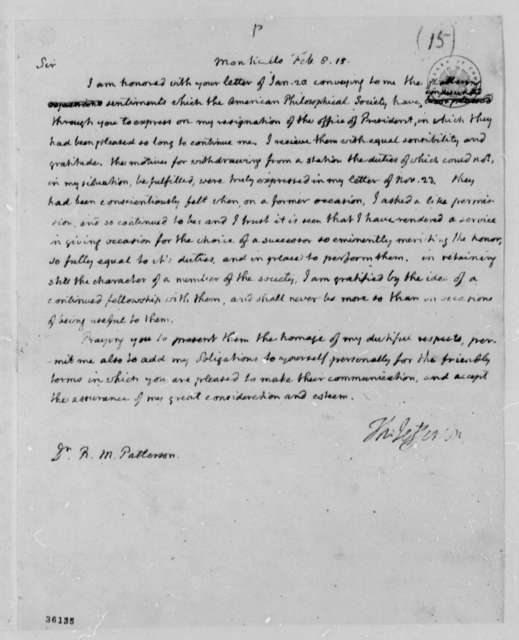 Thomas Jefferson to Robert Patterson, February 8, 1815