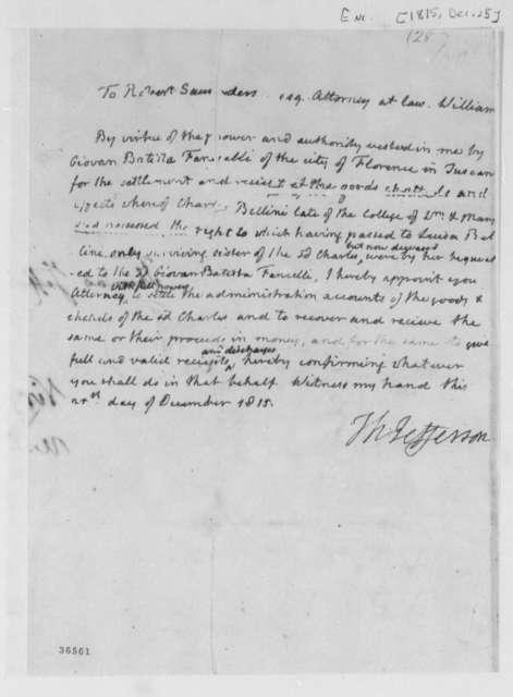 Thomas Jefferson to Robert Saunders, December 25, 1815