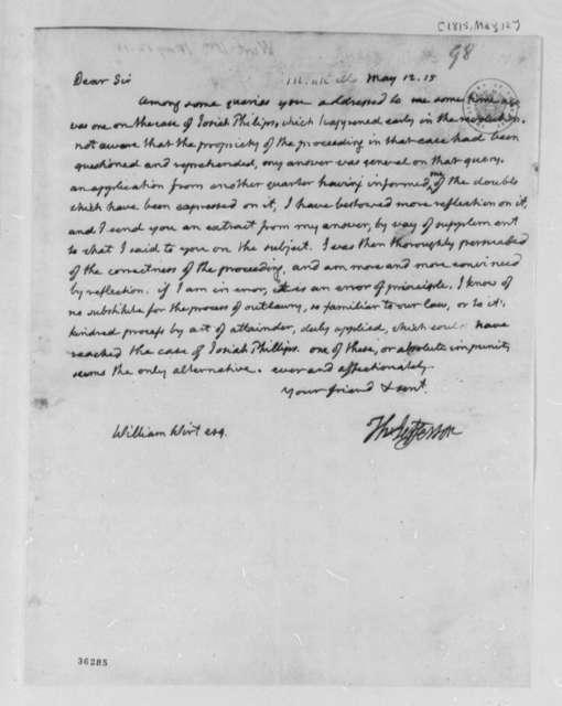 Thomas Jefferson to William Wirt, May 12, 1815