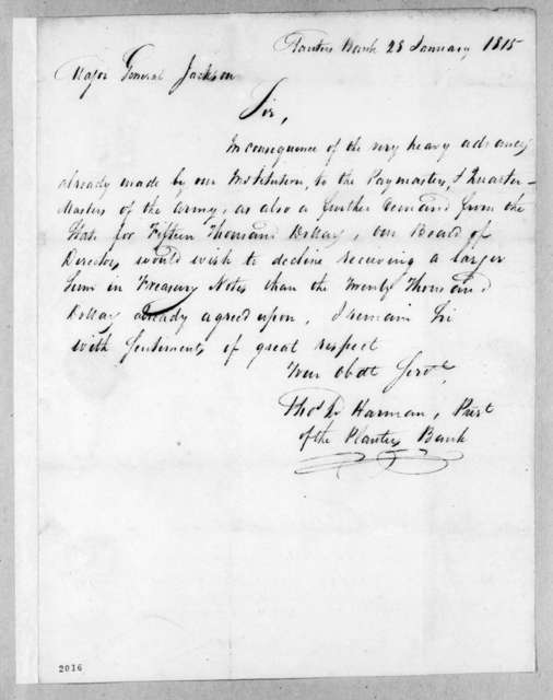 Thomas L. Harman to Andrew Jackson, January 28, 1815