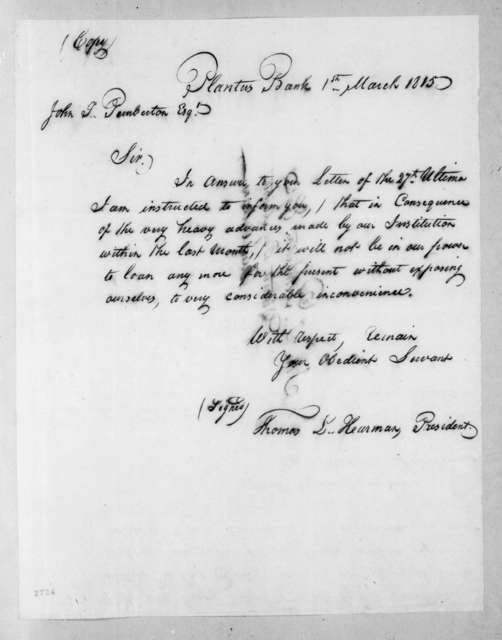Thomas L. Hearman to John T. Pemberton, March 1, 1815