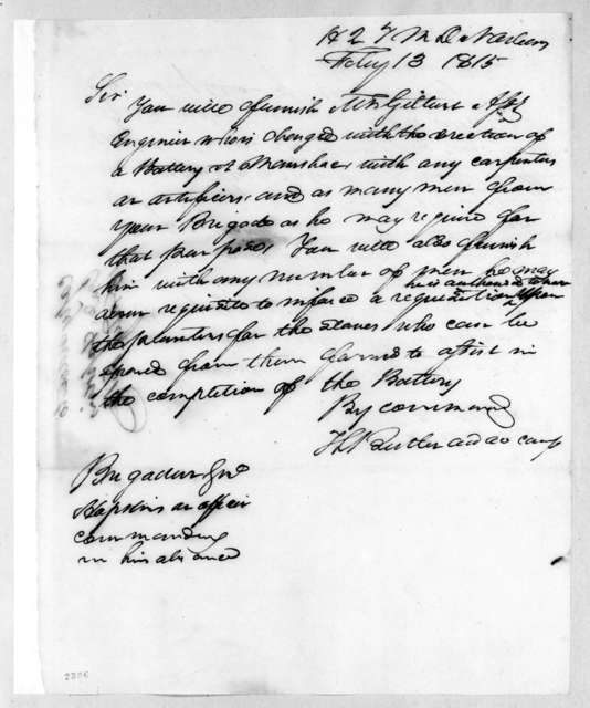 Thomas Langford Butler to Stephen A. Hopkins, February 13, 1815